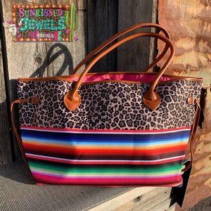 Handbags - New leopard & Serape tote!